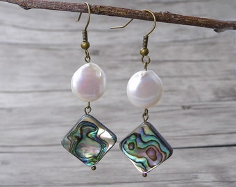 Abalone Earrings BOHO Bead Earrings Fresh Water Pearl Earrings Abalone Shell Earrings Shell bead earrings Dangle Earrings Abalone ED-019