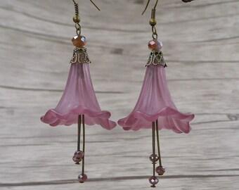 Burgundy Earrings Red Flower Earrings Bead Dangle Earrings Drop Earrings Bead Earrings Vintage Earrings Statement Earrings Flower ED-029
