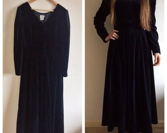 Vintage 1980s Navy VELVET dress