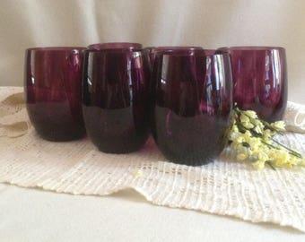 Vintage Amethyst Drinking Glasses, Set of6