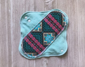 Tribal Mint and Coral Mama Cloth Menstrual Pads