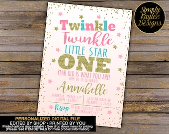 Twinkle Twinkle Little Star First Birthday Party Invitation