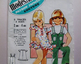 70's french vintage sewing pattern:Girls Dungaree Overall Tunic Dress Bloomer partially cut Sizes 2-4 years/2-4 ans Modes&Travaux 3180