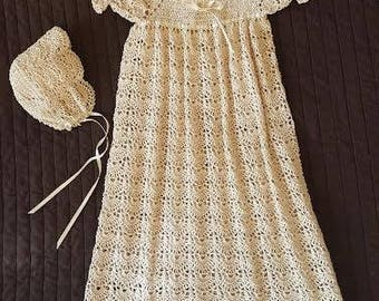 Crochet christening gown with slip and bonnet