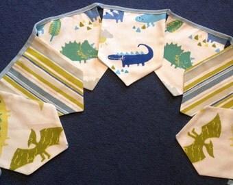 Dinosaur Bunting, Dinosaur Garland, Bedroom Bunting, Playroom Bunting, Bunting for Boys, Bunting for Girls, Nursery Bunting, Fabric Bunting