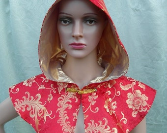 Red and gold brocade cowl