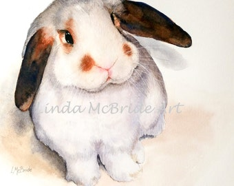 Lop Bunny 3x3 gift enclosure card from my original watercolor painting with envelope.