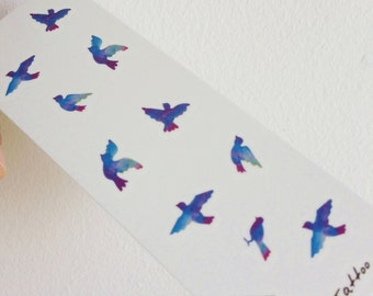 Blue Birds - Temporary Tattoos // Cute // Animals // Forest Theme // Tumblr Style // Summer // Party
