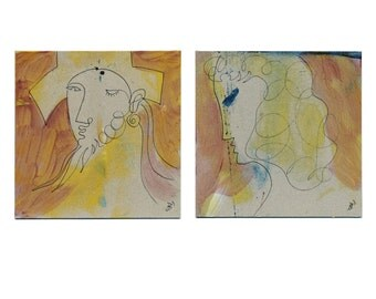 Diptych image 2 x 15/15 cm (2 x 5.9/5.9 inch) portrait abstract