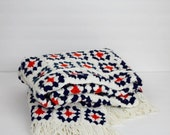 BLACK FRIDAY SALE Vintage red, white and blue afghan / small fringed ends knit throw / cozy retro blanket