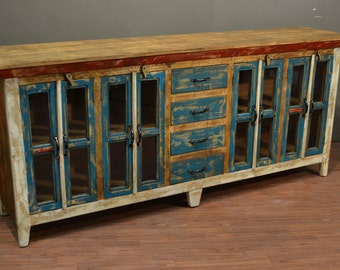 rustic solid wood sideboard media console multi purpose cabinet