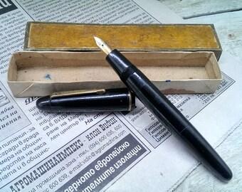 Vintage Golden Pen, Black Piston Filler Fountain Pen, German Golden Pen, Gift Idea