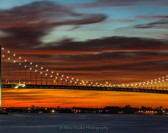 Throgs Neck Bridge, Panorama, New York City, Queens NY, clouds, Sunset, Long Exposure, Bridges, Bridge