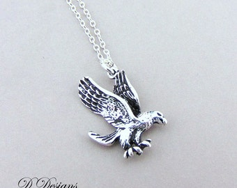 Eagle Necklace, Silver Eagle Pendent, Eagle Jewellery, Silver Charm Necklace, Silver Necklace, Trendy Necklace, Goth Chain