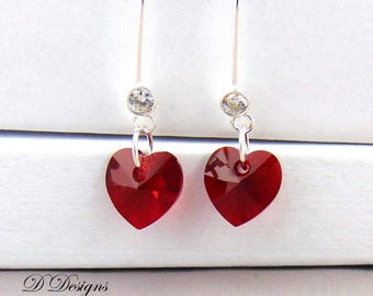 Red Heart Earrings, Sterling Silver Earrings, Swarovski Crystal Earrings, Gifts for her. Valentines Day Gifts, Earwire earrings