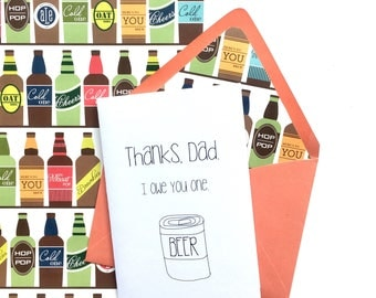 Father's Day Card, Funny Father's Day Card, Thank You Card,  Beer Thank You Card, Thank You Card for Dad, Beer Thank You Card