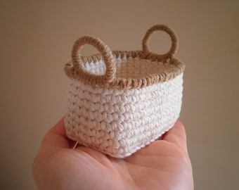 Miniature Oval (Rectangle) Crochet Basket with Handles, Doll House Basket, Shabby Chic Basket, Gift for Women