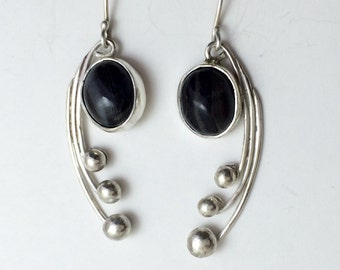 Black Lace Agate and Sterling Silver Earrings