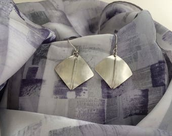 Brushed Sterling Silver Earrings