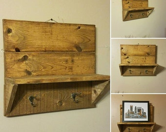 wall shelf, coat rack, wooden shelf, wooden shelves, rustic decor, country decor, farmhouse decor, dorm room, wall mounted shelves,