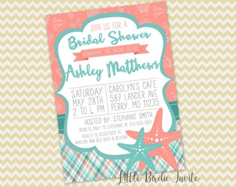 Printable Beach Bridal Shower Invitation, Beach Themed Invitation, Bridal Shower Invitation, Starfish Invitation, Bridal Shower Invite