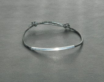 Silver plated bracelet silver tube with leather cord handcrafted bracelet silver black bracelet