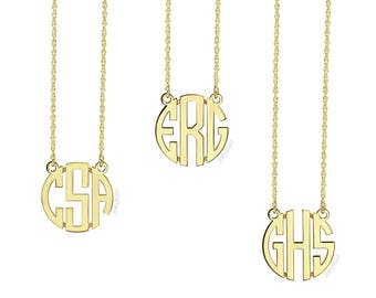 Gold Monogram Necklace, Monogram Necklace, Small Monogram Necklace, Personalized Necklace, Monogrammed Necklace, Bridesmaid Gift, MINI