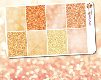 May / Peach & Orange Glitter and Bokeh Full Box Planner Stickers (Erin Condren Life Planner Monthly Colors)
