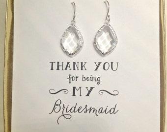 Set of 8 Bridesmaid Earrings, Crystal Silver Earrings, Silver Bridesmaid Set of 8 Earrings, Clear Crystal Earrings, ES8