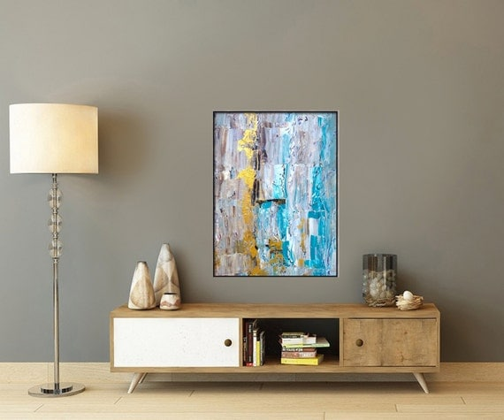Wall Decor 20x20 : Blue abstract art painting canvas wall by