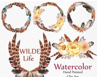 on sale40 watercolor feather wreaths clipart feathers clipart wedding clipart diy invites boho wedding invitation frames handpainted cli