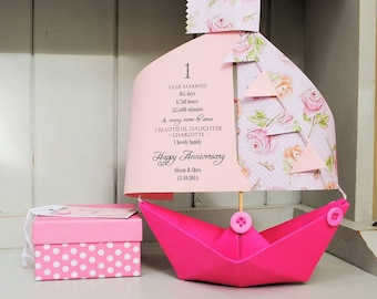 Anniversary Card, Rose, Floral, 1st Anniversary, Paper Anniversary, Paper boat, Personalised Card, Anniversary Card, 1st Anniversary Card