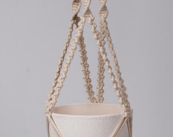 Macrame plant hanger, macrame hanging flowerpot, plant hanging the braided cotton cord 3 mm.
