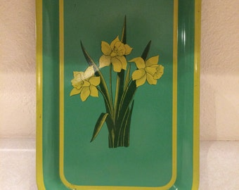 Vintage Green and Yellow Decorative Serving Tray