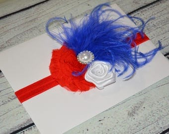 Patriotic Headband ,4th of July Baby Headband,July 4th Headband,Vintage Headband ,Red White Royal Blue Headband ,Baby Headband