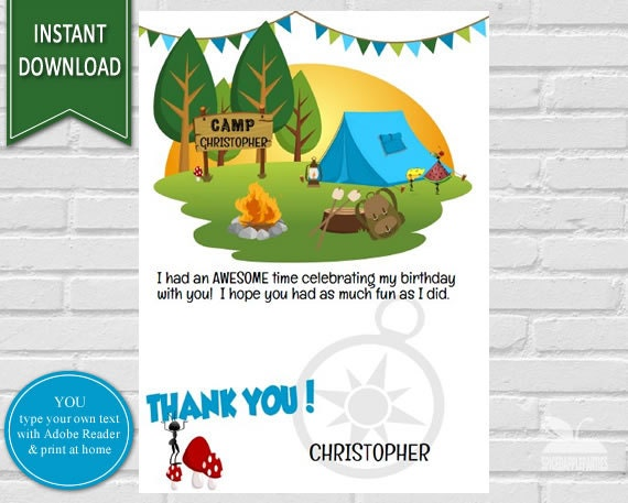 Camping Birthday Thank You Card Thank You Note Printable Thank