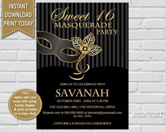 Masquerade Party Sweet 16 Masquerade Masquerade Invite
