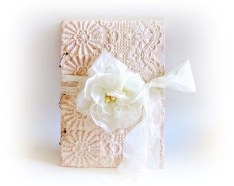 Personalized Wedding Guest Book Wishes Book Lace Guest Book Wedding Album Signature Book Wooden Vow Book Shabby Chic Wedding Guest Book