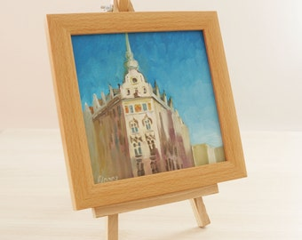 "Oil painting ""Prague"", framed, ready to hang"