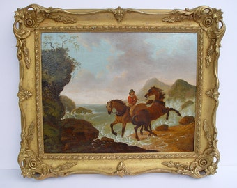 Antique painting landscape with horses  on the wild coast signed JHarwood dated 1828