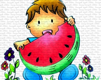 Image #45 - Yummy Melon - Sasayaki Glitter Digital Stamps - Naz - Line art Only - Black and White
