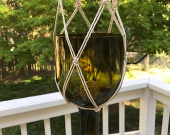 Upcycled Wine Bottle Hanging Planter with Macrame