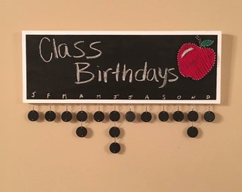 "READY TO SHIP Chalkboard Class Calendar 8""x22"""