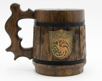 Game of Thrones Wooden Beer Mug, Game of Thrones Gift, Game of Thrones inspired gift, House Targaryen Fire and Blood, GOT Personalized Crest
