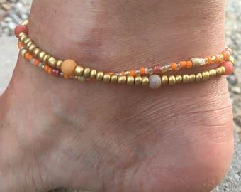 Beach Anklet, Double Strand Anklet,  Orange Anklet, Ankle Bracelet Anklet