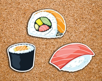 63 Sushi, Nigiri, Maki Roll, Salmon Roll, Tuna Nigiri Icon Stickers for 2017 Inkwell Press IWP-DC47