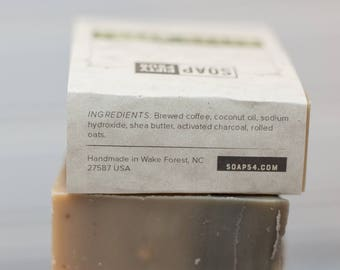 Coffee Soap | Activated Charcoal Soap | Fragrance Free Soap | Oat and Coffee Bar | Exfoliating Soap | Natural Soap | Rustic Soap