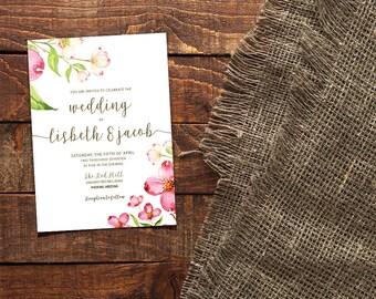 Peony Invitation, Hand-Painted Invite, Boho Chic Invite, Wedding Invitation, Invitation Suite, Peony Wedding, DIY Wedding, Printable Invite