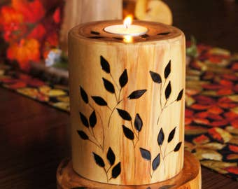 Boutique-Like Hand-Crafted Candle with Wood-Burned Design/ Easter Centerpiece/Gift Candle/ Rustic Candle/ Wood Candle/Mothers Day/