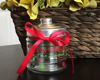Custom Personalized Christmas Gift Jar Glass Teachers Parties